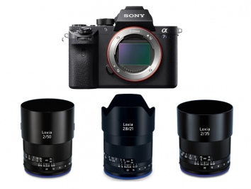 Sony Alpha 7SII fekete váz + Zeiss Loxia 50mm f/2 + Zeiss Loxia 35mm f/2 + Zeiss Loxia 21mm f/2.8 objektív